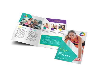 Vibrant Gym Fitness Bi-Fold Brochure Template preview