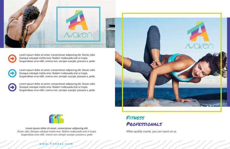 Beautiful Gym Bi-Fold Brochure Template Preview 2