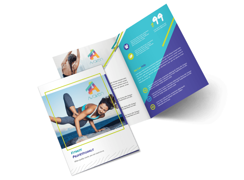 Beautiful Gym Bi-Fold Brochure Template Preview 1
