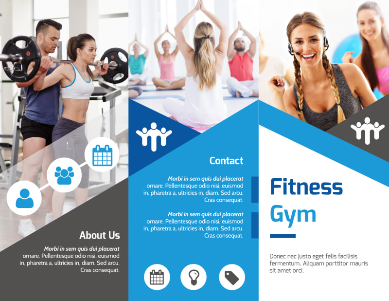 Edge Fitness Gym Tri-Fold Brochure Template Preview 2