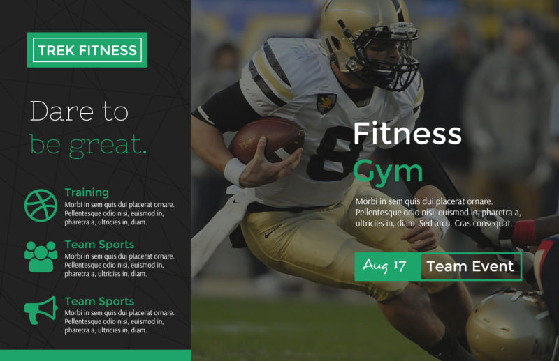 Dare To Be Great Gym Postcard Template Preview 2