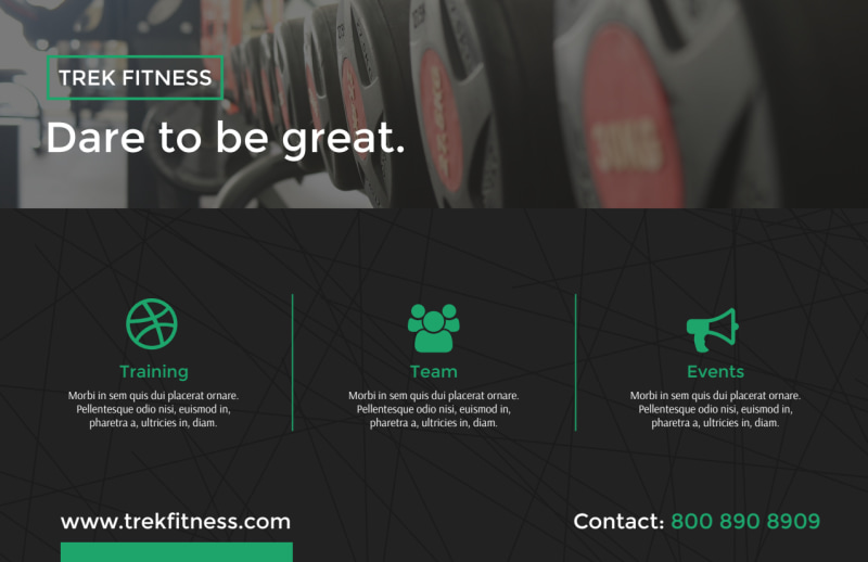 Dare To Be Great Gym Postcard Template Preview 3