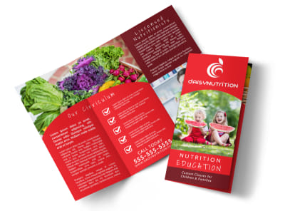 Red Nutrition Education Tri-Fold Brochure Template