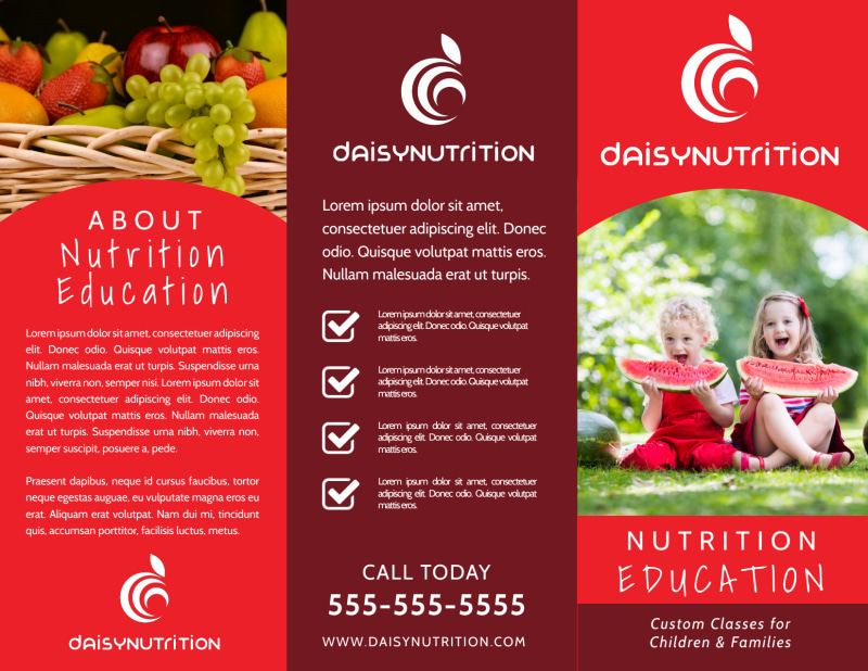 Red Nutrition Education Tri-Fold Brochure Template Preview 2