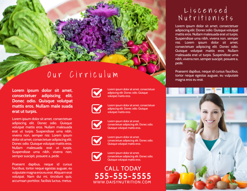 Red Nutrition Education Tri-Fold Brochure Template Preview 3