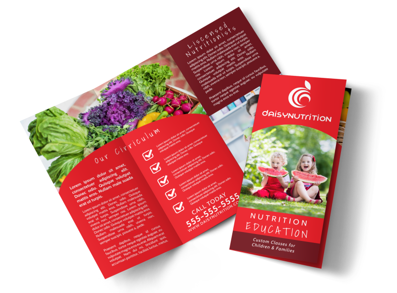 Red Nutrition Education Tri-Fold Brochure Template Preview 1