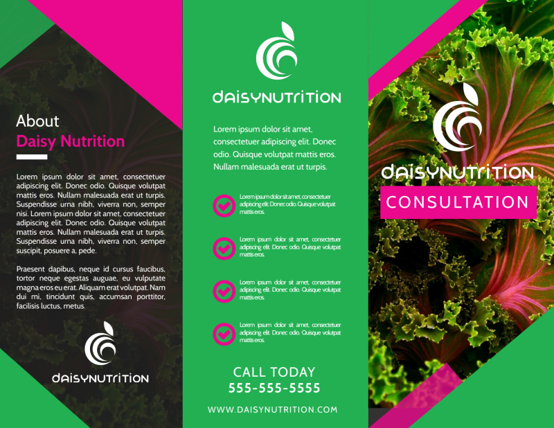Fun Nutrition Consultation Tri-Fold Brochure Template Preview 2