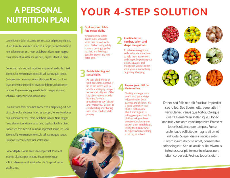 Nutrition Consultation Tri-Fold Brochure Template Preview 3