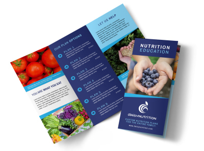 Awesome Nutrition Education Tri-Fold Brochure Template preview