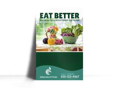 Eat Better Nutrition Poster Template preview