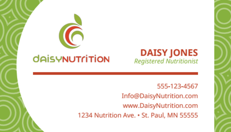 Green Nutrition Business Card Template Preview 2