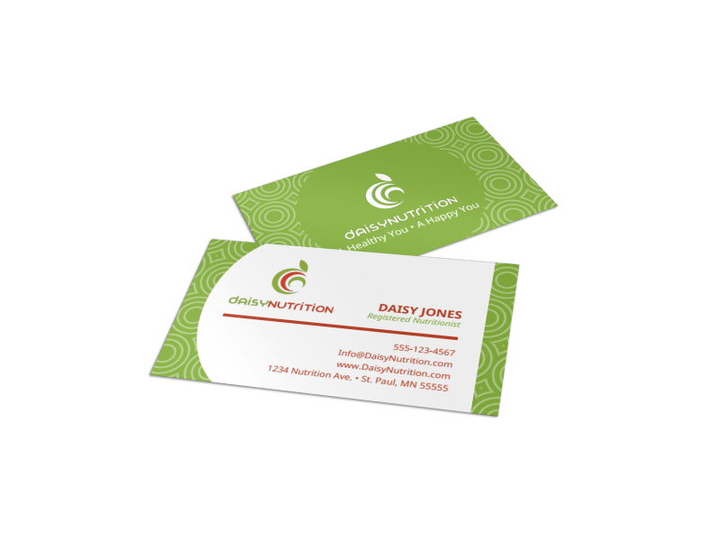 Green Nutrition Business Card Template Preview 1