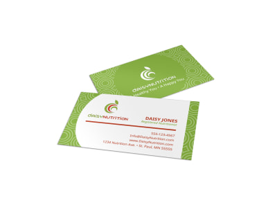Green Nutrition Business Card Template preview