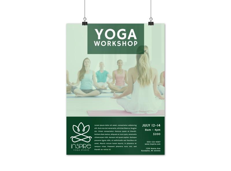 Green Yoga Workshop Poster Template