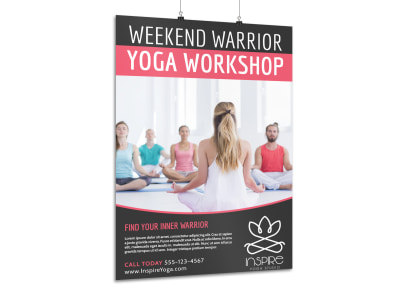 Weekend Warrior Yoga Poster Template preview
