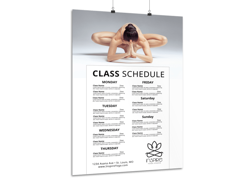 Stunning Yoga Schedule Poster Template Preview 1