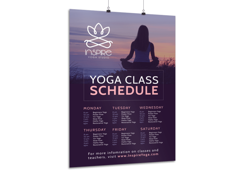 Stunning Yoga Class Schedule Poster Template Preview 1