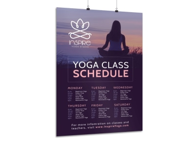 Stunning Yoga Class Schedule Poster Template preview