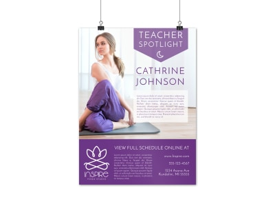 Yoga Teacher Spotlight Poster Template preview