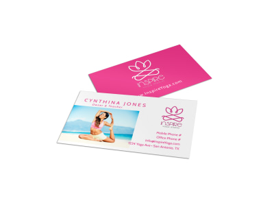 Pink Yoga Business Card Template preview