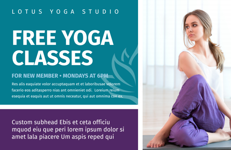 Yoga Class Promo Postcard Template Preview 2