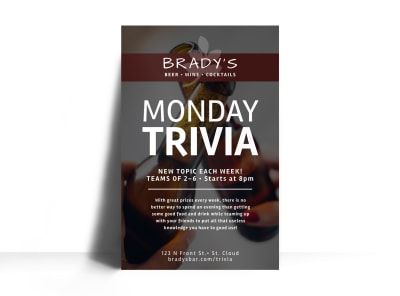 Monday Trivia Bar Poster Template preview