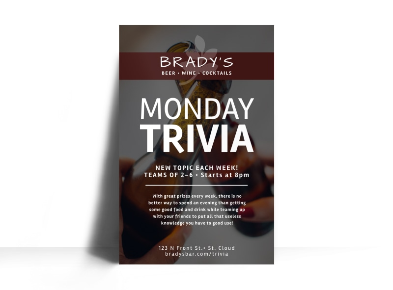 Monday Trivia Bar Poster Template