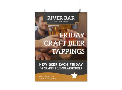 Craft Beer Bar Poster Template preview