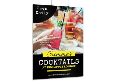 Summer Cocktail Bar Poster Template preview