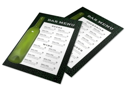 Bottle Bar Menu Template preview