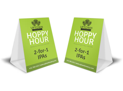 Green Happy Hour Table Tent Template preview