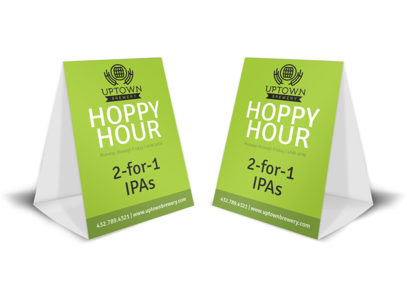Green Happy Hour Table Tent Template MyCreativeShop - Bar table tents