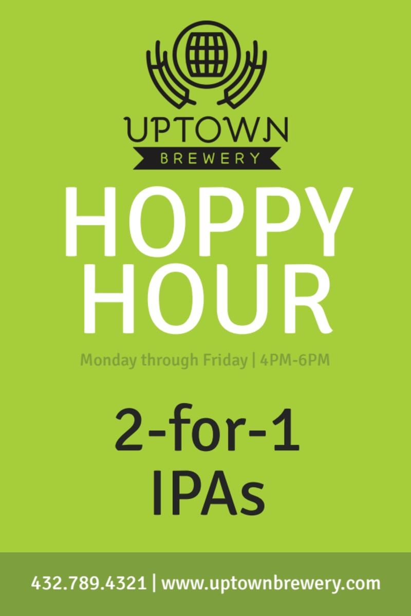 Green Happy Hour Table Tent Template Preview 2