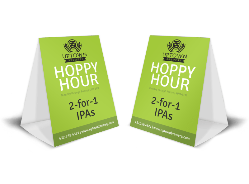 Green Happy Hour Table Tent Template Preview 1