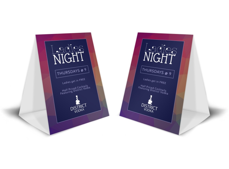 Ladies Night Bar Table Tent Template
