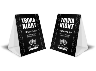Bar Trivia Night Table Tent Template