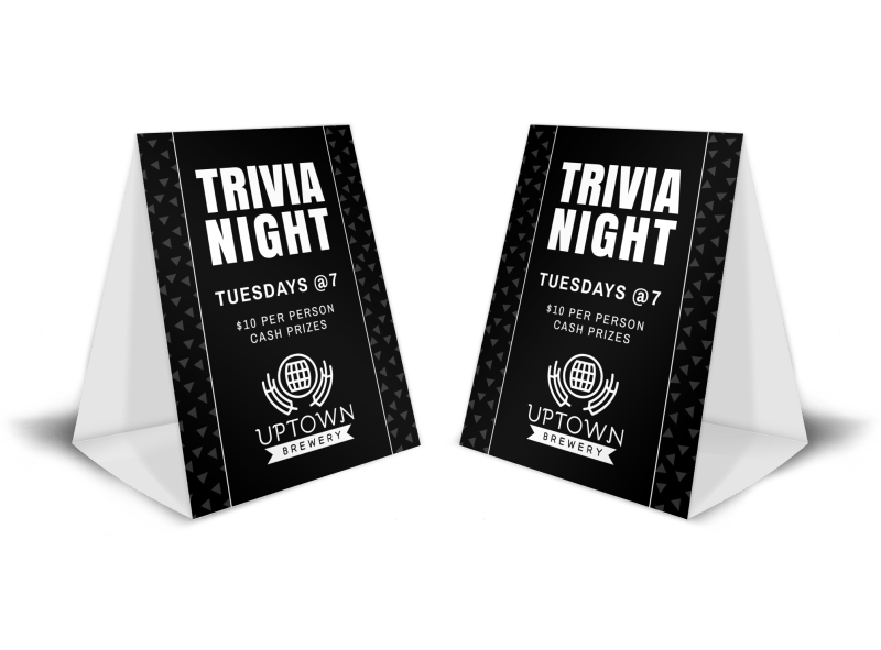Bar Trivia Night Table Tent Template Preview 1