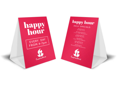 Pink Happy Hour Table Tent Template preview