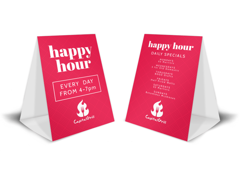 Pink Happy Hour Table Tent Template Preview 1