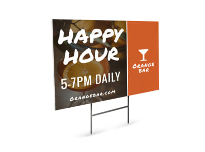 Happy Hour Bar Yard Sign Template preview