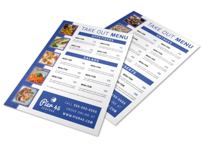 Blue Take Out Menu Template preview