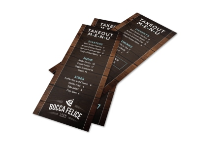 Rustic Take Out Menu Template