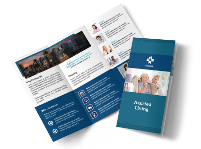 Professional Assisted Living Tri-Fold Brochure Template preview