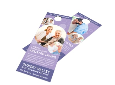 Purple Assisted Living Door Hanger Template preview