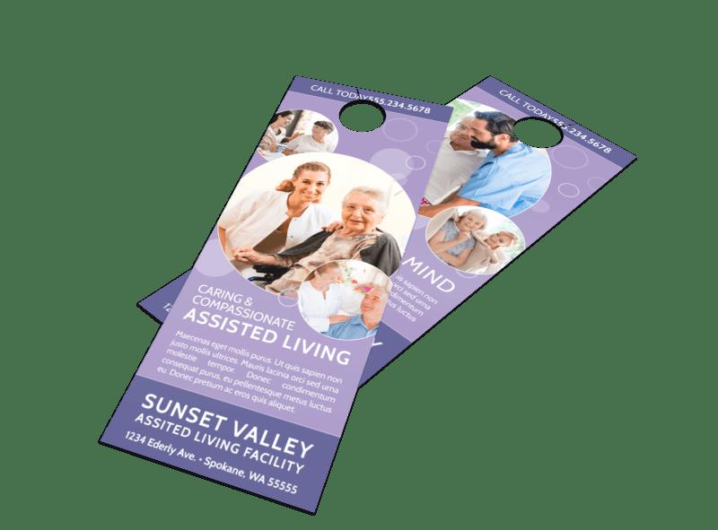 Purple Assisted Living Door Hanger Template Preview 1