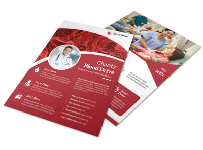 Red Blood Drive Flyer Template preview