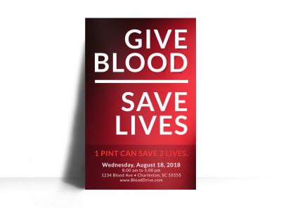 Give Blood Save Lives Poster Template preview