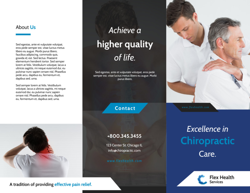 Chiropractic Care Tri-Fold Brochure Template Preview 2