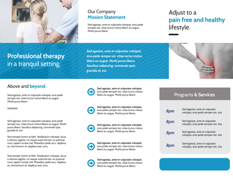 Chiropractic Care Tri-Fold Brochure Template Preview 3