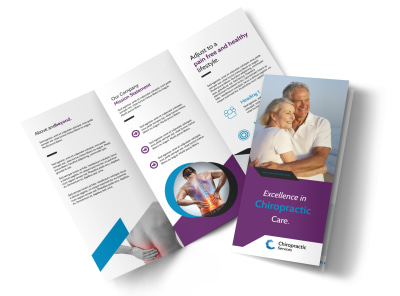 Excellent Chiropractic Tri-Fold Brochure Template preview